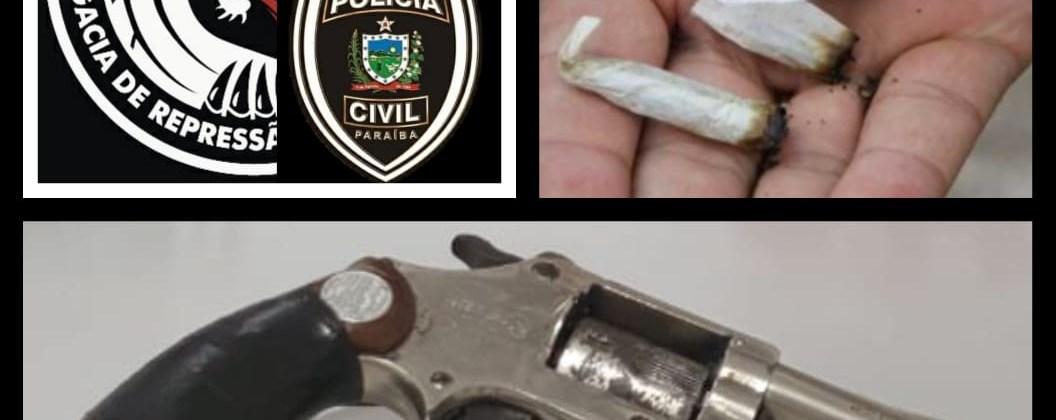 Polícia Civil acaba com reunião regada à maconha e apreende drogas e arma em CG