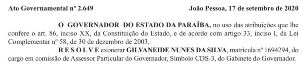 WhatsApp Image 2020 09 18 at 01.09.08 1024x239 - Diário Oficial traz exoneração de ex-secretária, ligada a RC e Cida Ramos, do cargo de assessora de governo