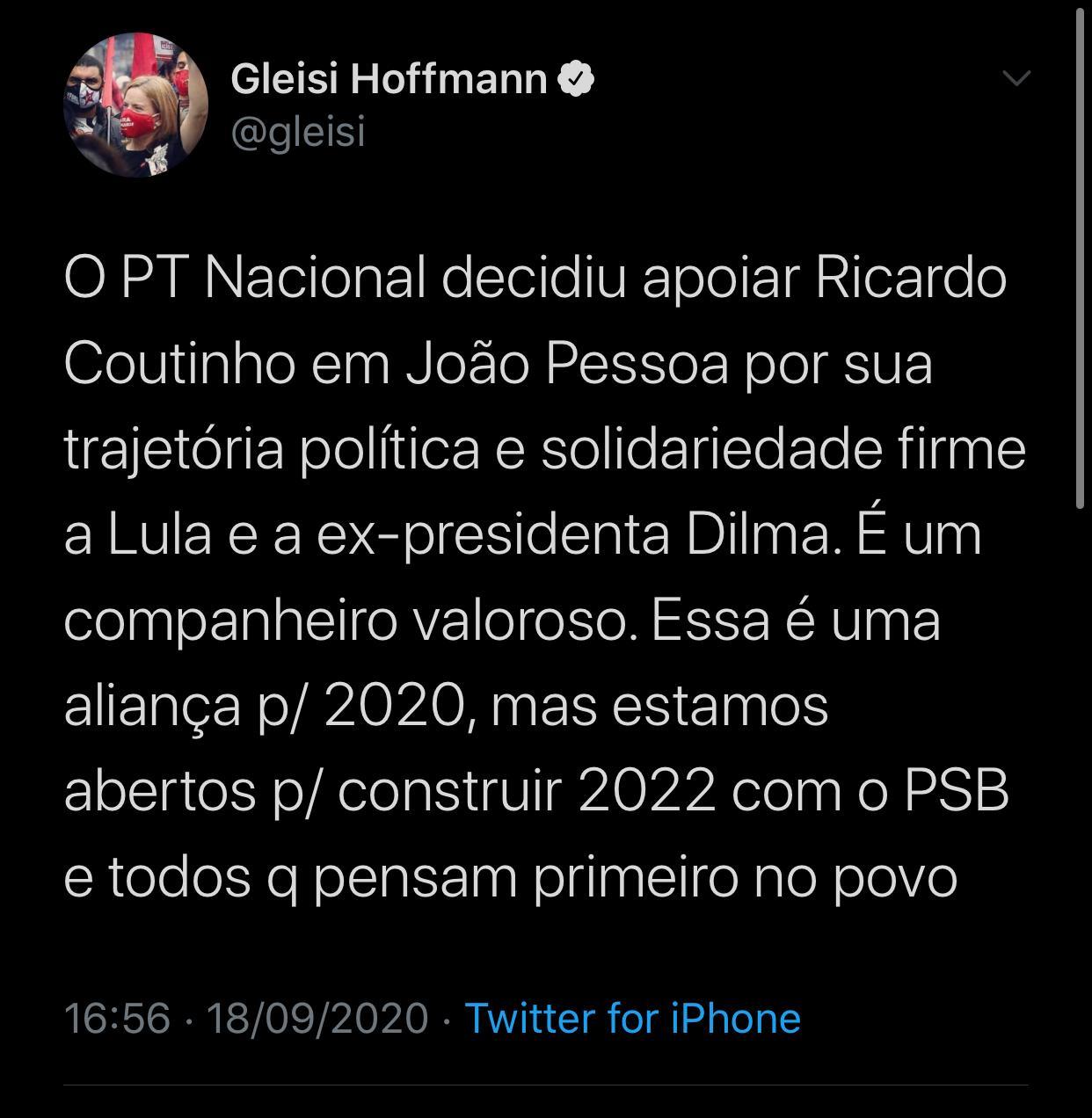 WhatsApp Image 2020 09 18 at 18.43.38 - Gleisi Hoffmann reafirma apoio do PT nacional a candidatura de Ricardo e legenda está à procura de um vice; SAIBA MAIS