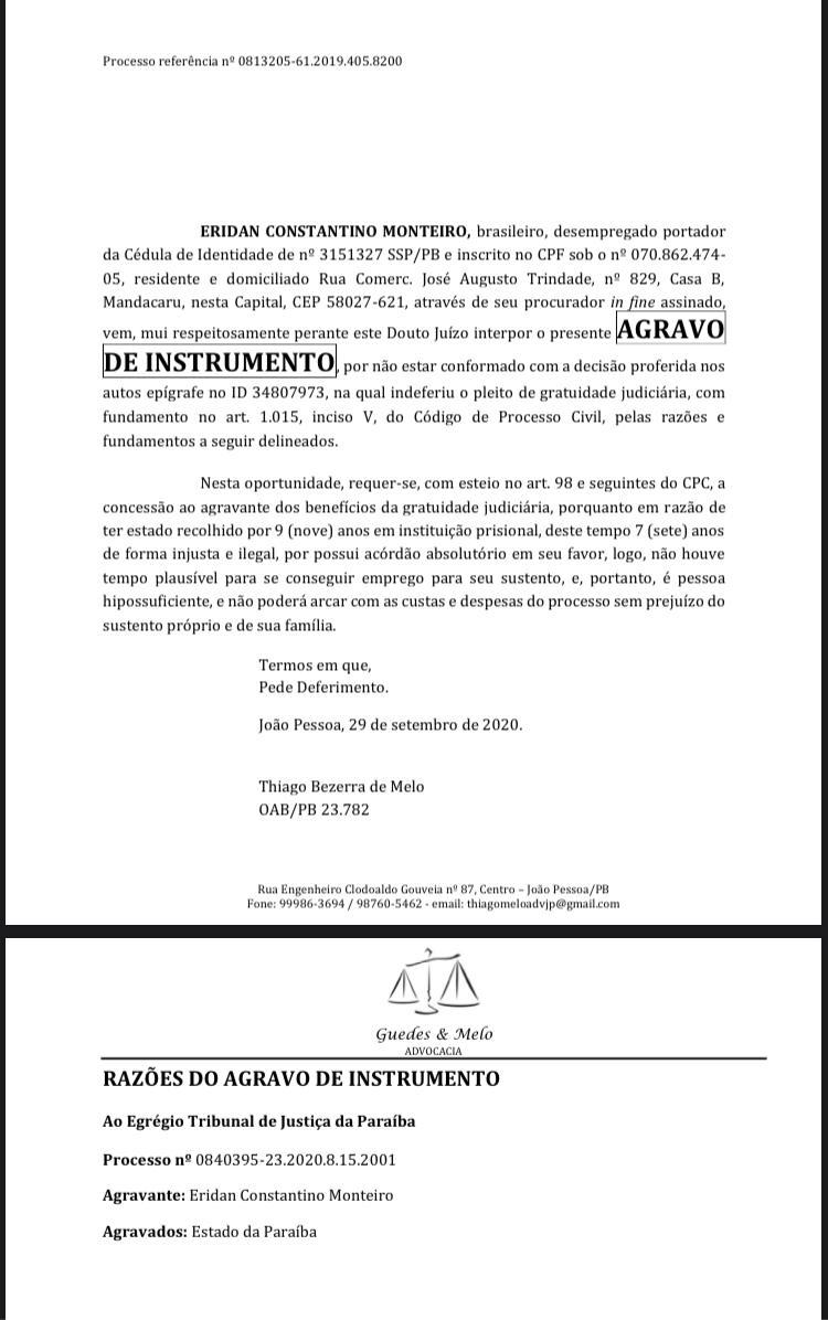 WhatsApp Image 2020 09 30 at 16.07.31 - INJUSTIÇA: Homem preso injustamente por 7 anos, tem pedido de justiça gratuita negado