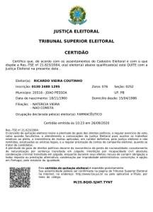 certidao quitacao rc 216x300 - TSE emite certidão que comprova que Ricardo Coutinho não tem pendências com a Justiça Eleitoral - VEJA DOCUMENTO