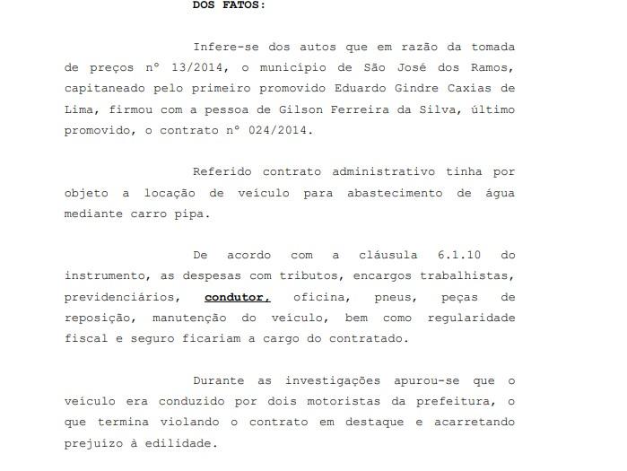 fatos - MP pede condenação do prefeito de São José dos Ramos por improbidade administrativa