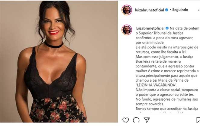 luiza brunet post 441234 - AGRESSÃO: Luiza Brunet comemora condenação do ex- marido