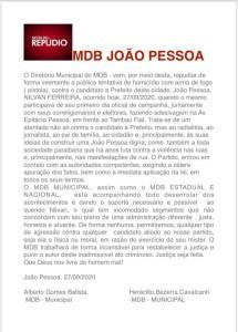 nota mdb jp 215x300 - MDB municipal e nacional emitem notas sobre ameaça a Nilvan