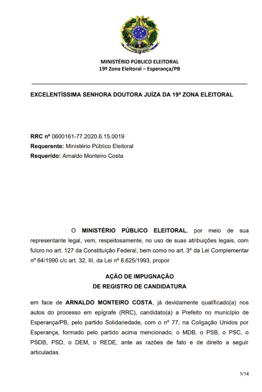 pedido impugnacao arnaldo monteiro - EM ESPERANÇA: Ministério Público Eleitoral solicita impugnação da candidatura de Arnaldo Monteiro - CONFIRA