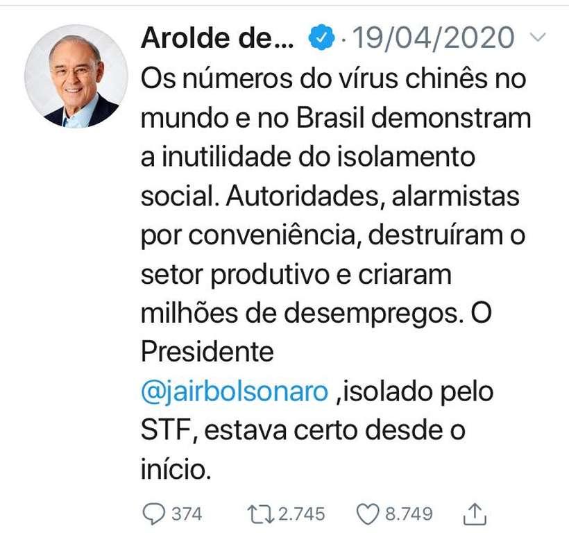 1 - Senador defensor da cloroquina e crítico do isolamento social morre de covid-19