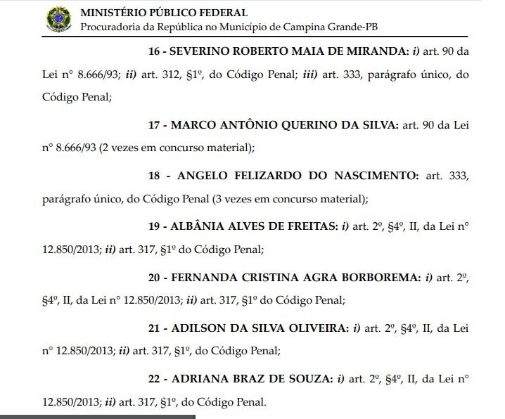 06 - FAMINTOS: MPF denuncia secretário de Educação e três ex-secretários em Campina Grande