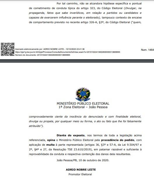 PARECER MPE RICARDO WALLBER - MPE emite parecer favorável à aplicação de multa a Wallber por vídeo ofensivo contra Ricardo