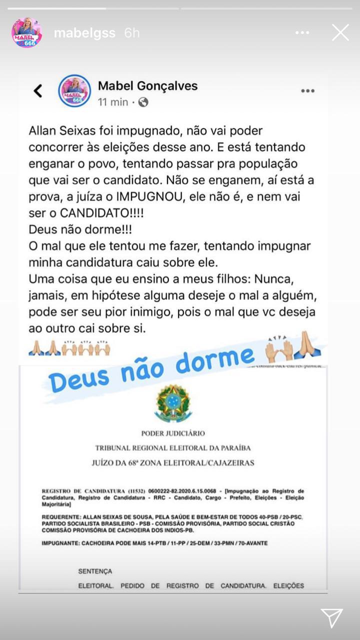 WhatsApp Image 2020 10 13 at 17.34.18 - Ex- primeira dama de Cachoeira dos Índios comemora impugnação de ex marido Alan Seixas nas redes sociais