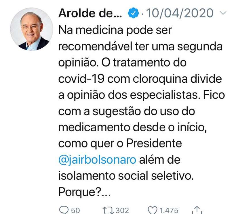 a - Senador defensor da cloroquina e crítico do isolamento social morre de covid-19