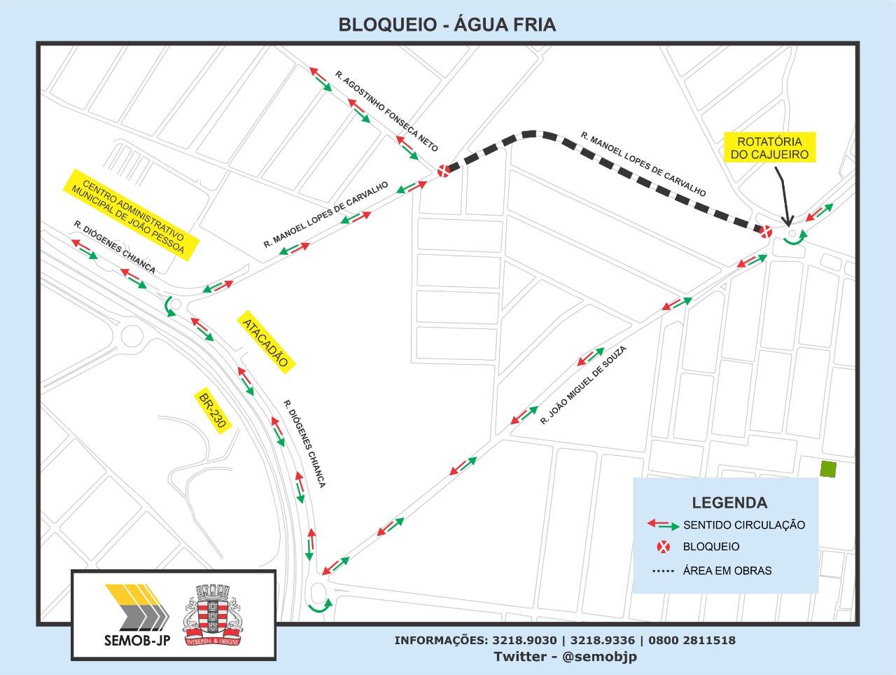 bloqueio agua fria - Trecho em Água Fria será bloqueado neste sábado (10) para obras da Cagepa e Semob orienta desvios
