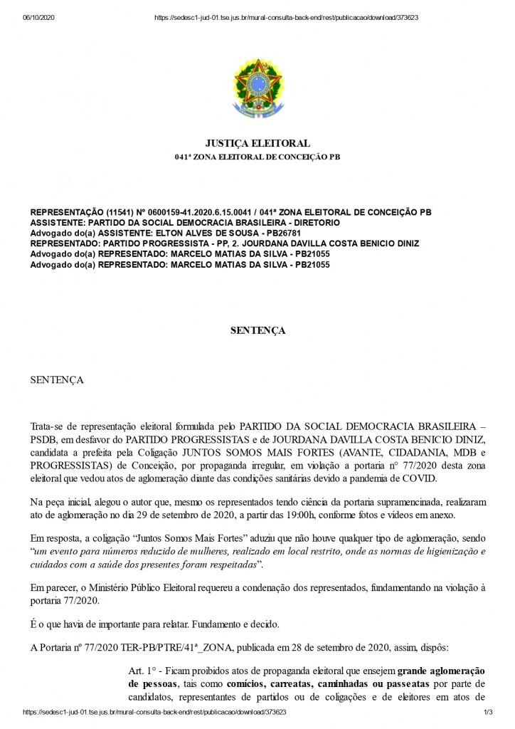 conceicao page 0001 - AGLOMERAÇÃO: Jourdana Diniz, candidata à prefeita de Conceição é condenada pela Justiça Eleitoral a pagar R$ 100 mil