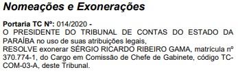 exoneração serio ricardo  - TCE-PB: Investigado na Calvário foi exonerado depois de afastamento de conselheiro