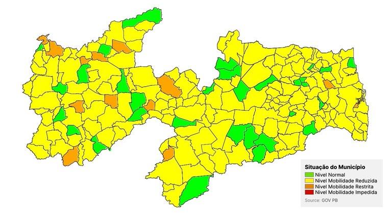 mapa pb - NOVO NORMAL PARAÍBA: Aumenta número de municípios em bandeira verde, mas 80% ainda estão na amarela