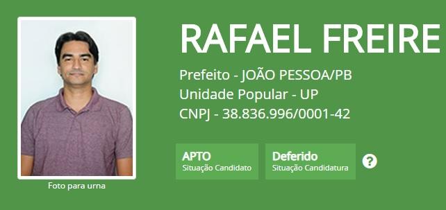 rafael freire - Rafael Freire tem pedido deferido pelo TRE-PB e está apto a disputar as eleições em João Pessoa
