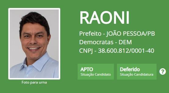 raoni mendes deferido - Raoni tem candidatura deferida e está apto a disputar prefeitura de João Pessoa