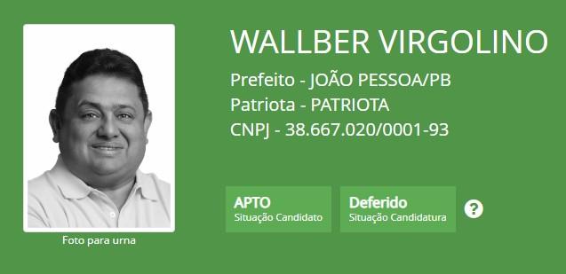 wallber deferido - Wallber Virgolino é o primeiro candidato a prefeito de João Pessoa a ter candidatura deferida pelo TRE-PB