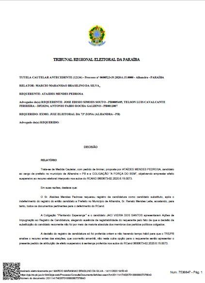 2 1 - ALHANDRA: Branco Mendes consegue liminar e tem candidatura garantida - CONFIRA DOCUMENTO