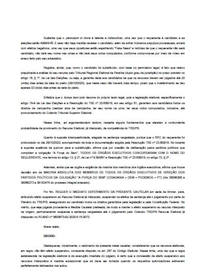 3 1 - ALHANDRA: Branco Mendes consegue liminar e tem candidatura garantida - CONFIRA DOCUMENTO