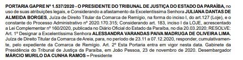 DESEMBARGADOR2 - RENT A CAR: prefeito reeleito de Camalaú tem afastamento mantido pelo TJPB; VEJA DESPACHO