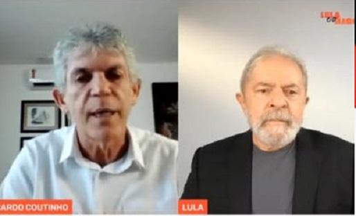 """Ricardo e Lula - """"Mentiras não vão tirar Ricardo da política"""" afirma Lula, em live ao lado do candidato a prefeitura de João Pessoa"""