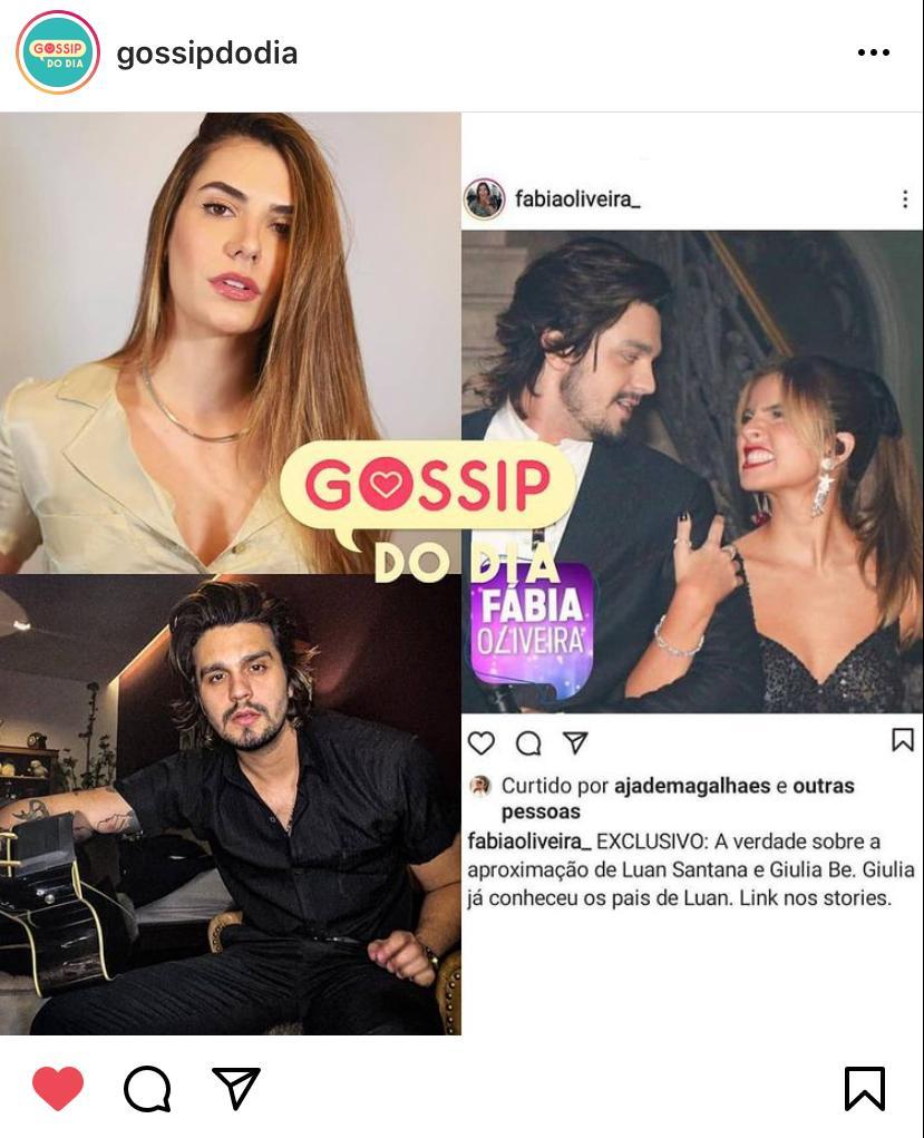 WhatsApp Image 2020 11 18 at 17.00.58 1 - Colunista afirma que Giulia Be já conheceu pais de Luan Santana e Jade Magalhães ex do cantor curte publicação