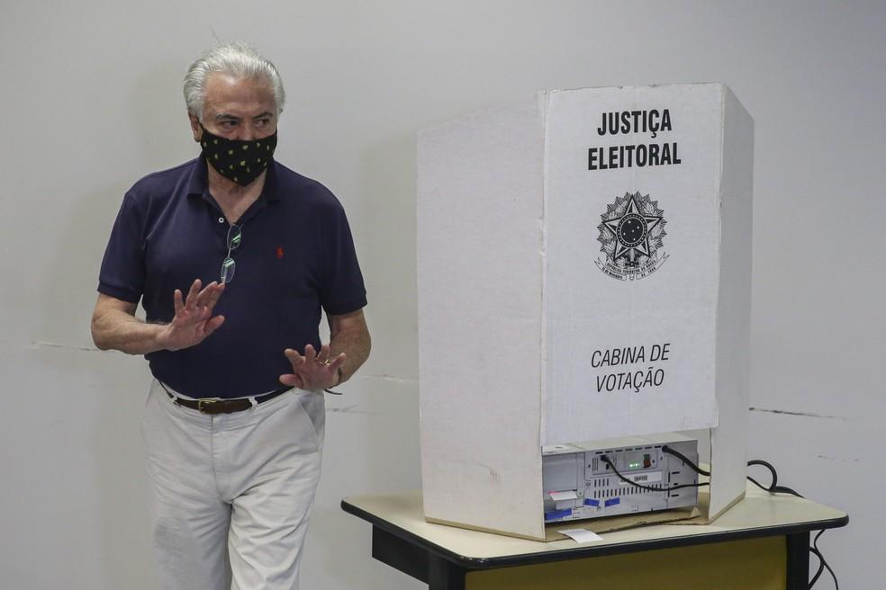 agf20201115005 - Ex-presidente Temer é o primeiro a votar em seção eleitoral em SP