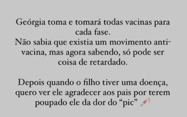 cqoz9grytdtd1aipydw0tmouf - Movimento antivacina é 'coisa de retardado', diz esposa de Eduardo Bolsonaro