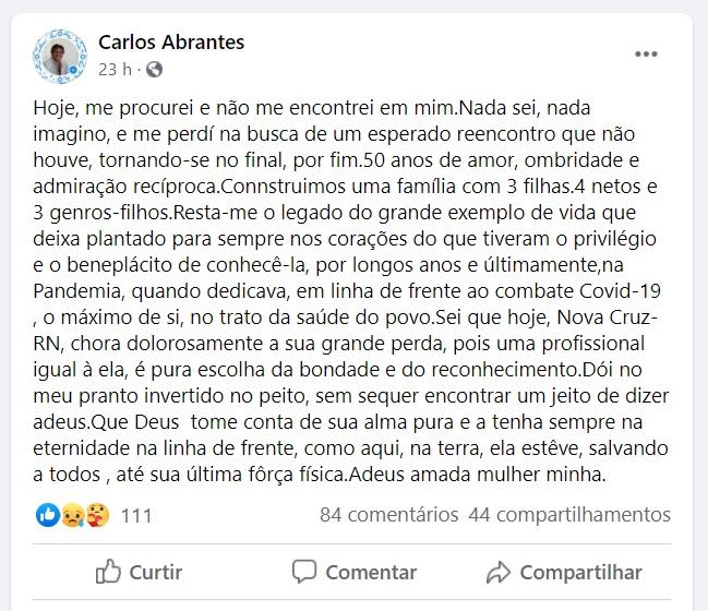 depoimento facebook - Covid-19 mata a médica pediatra Marlene Abrantes em João Pessoa