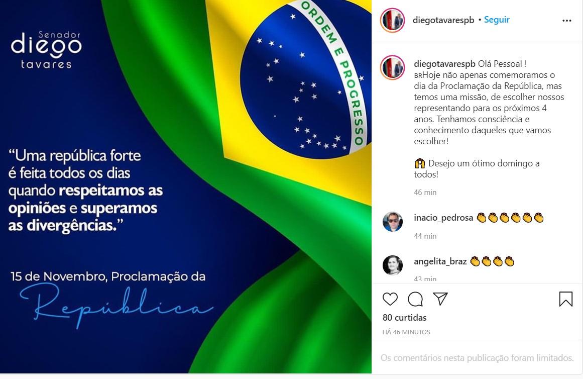 imagem 2020 11 15 090357 - Diego Tavares pede consciência da população no mento do voto: 'temos uma missão'