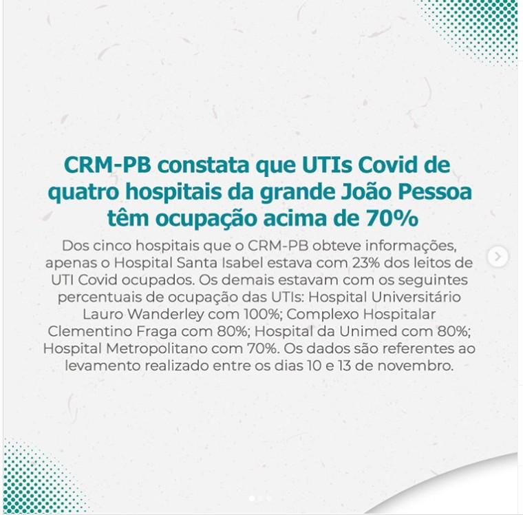imagem 2020 11 16 211417 - RISCO DE SEGUNDA ONDA: CRM-PB constata que UTIs Covid de quatro hospitais da grande João Pessoa têm ocupação acima de 70%