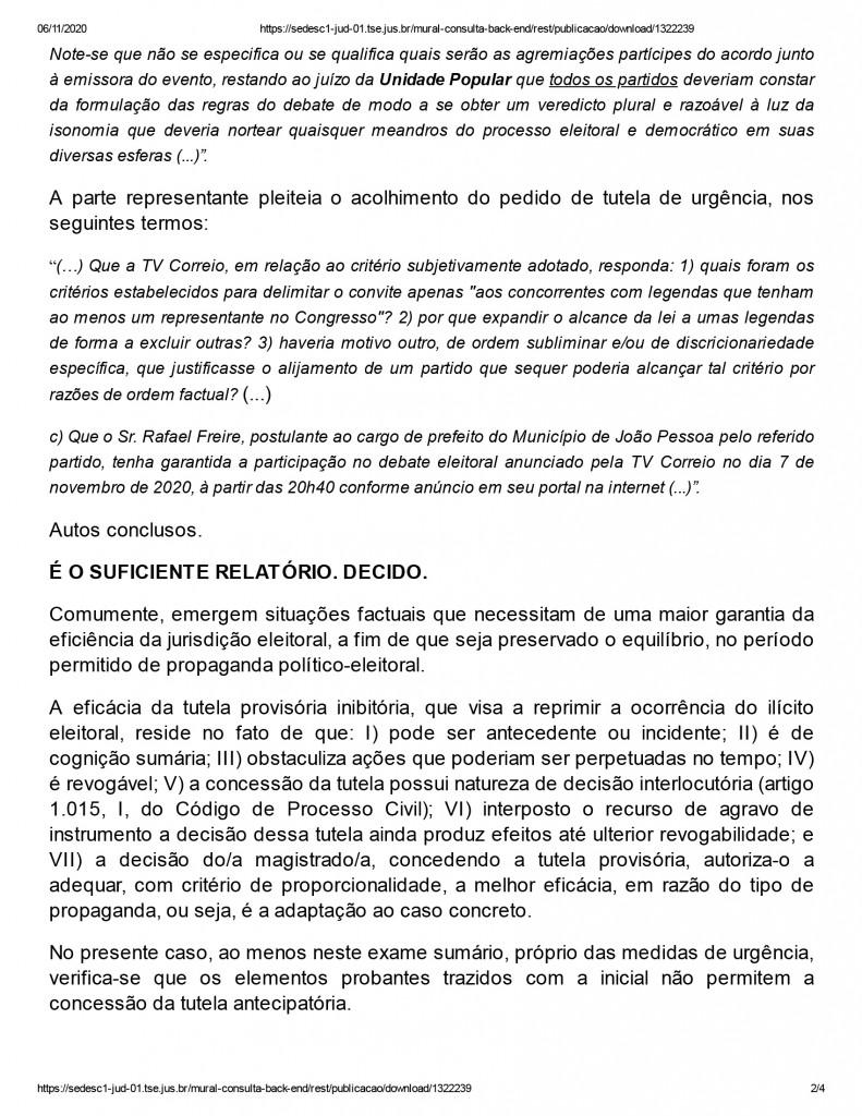 joao pessoa 2 - Juíza nega pedido de participação de candidato em debate promovido por emissora de televisão em João Pessoa