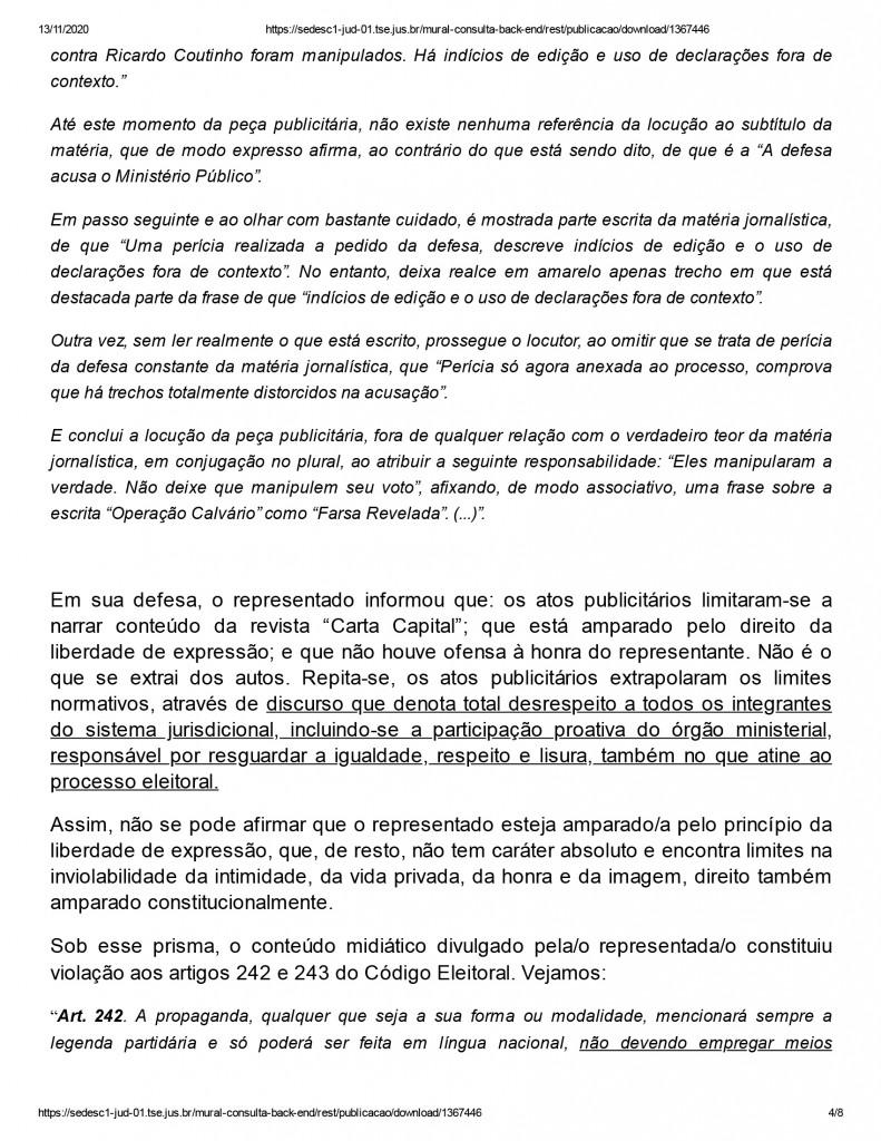 joao pessoa 4 1 - Justiça eleitoral determina que Ricardo Coutinho exclua propaganda com acusações de que Gaeco teria manipulado áudios de delações da Operação Calvário