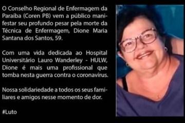 COVID-19: técnica de enfermagem, Dione Santana, morre aos 59 anos em João Pessoa