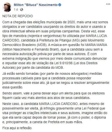 "nota milton - ""Maria, Maria"" Milton Nascimento vai processar candidata por uso 'ilegal' de música"