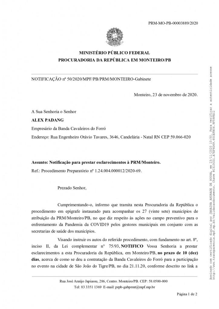 notificacao 50 2020 mpf pb prm mo gab page 0001 - MPF pede explicações a prefeitura que promoveu 'festa do vitória' durante pandemia do covid-19