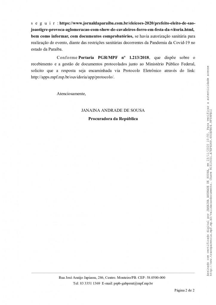 notificacao 50 2020 mpf pb prm mo gab page 0002 - MPF pede explicações a prefeitura que promoveu 'festa do vitória' durante pandemia do covid-19