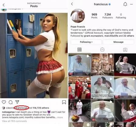 papa - DEU UMA ESPIADINHA?!: Conta do Papa no Instagram é investigada pelo Vaticano após curtir foto sexy de modelo brasileira