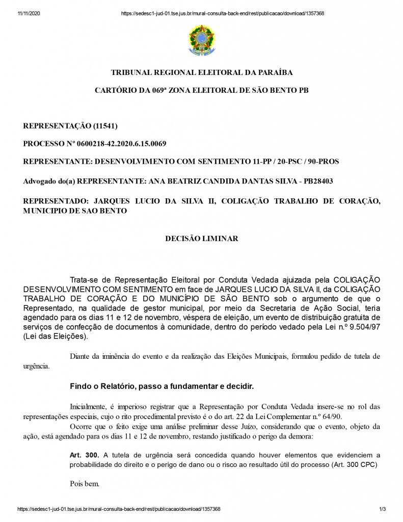 sao bento 1 1 - Candidato à prefeitura de São Bento tem ação social suspensa pela Justiça Eleitoral - ENTENDA