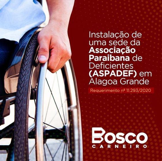 soliciatra - Bosco Carneiro destaca importância em solicitar a instalação da ASPADEF, em Alagoa Grande