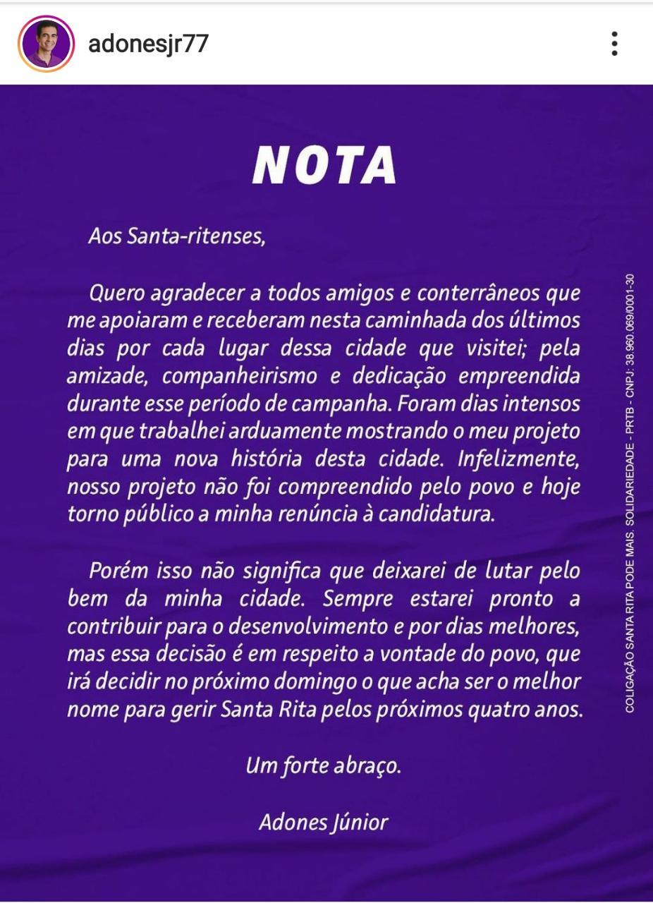 whatsapp image 2020 11 14 at 071220 - Candidato a prefeito de Santa Rita desiste de disputa nas vésperas da eleição