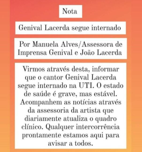Capturar.JPGaaa - Cantor Genival Lacerda segue internado em hospital de Recife; Assessoria pede que não compartilhem notícias falsas