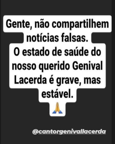 Capturar.JPGqqqqq - Cantor Genival Lacerda segue internado em hospital de Recife; Assessoria pede que não compartilhem notícias falsas