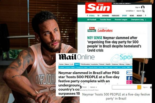 Neymar RED 1 600x400 1 - Réveillon de Neymar para 500 pessoas na pandemia vira notícia internacional