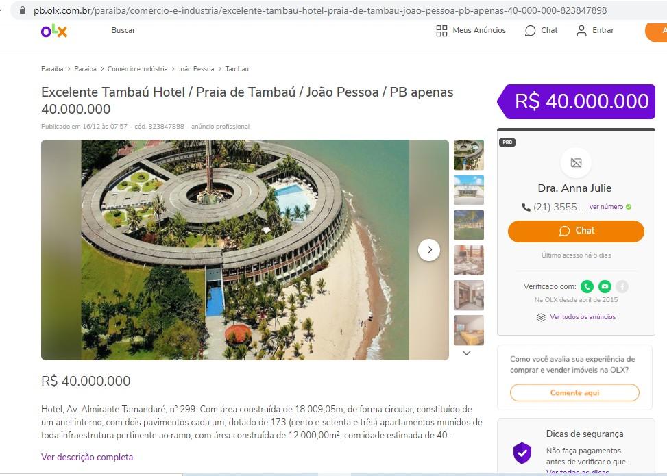 OLX - APENAS 40 MILHÕES! Empresa carioca anuncia Hotel Tambaú na OLX - VEJA ANÚNCIO