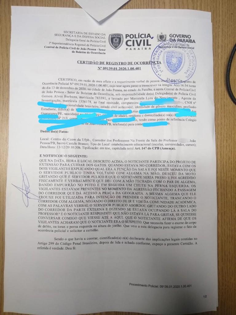 """PB - Estudantes são agredidos por seguranças da UFPB: """"Racismo e perseguição política"""", denuncia professor"""