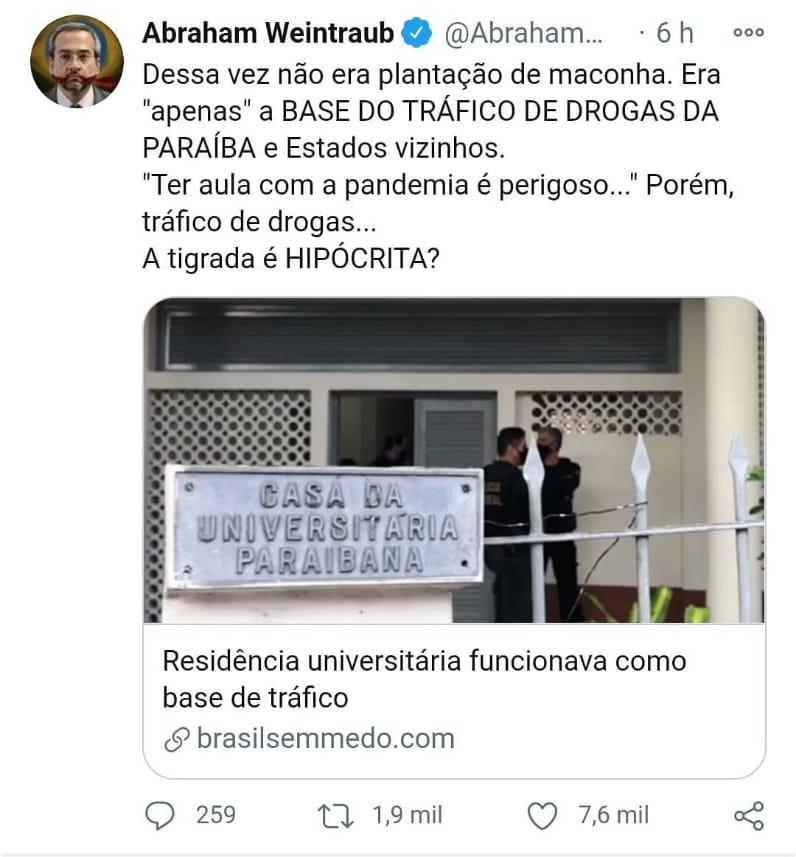 WhatsApp Image 2020 12 03 at 22.09.01 - 'Ter aula com a pandemia é perigoso... Porém, tráfico de drogas':Weintraub repercute operação em residência universitária da PB
