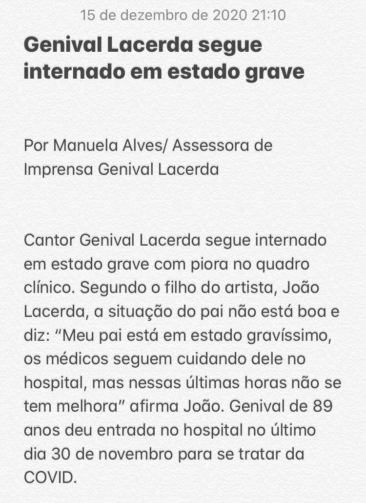 WhatsApp Image 2020 12 15 at 21.14.28 - 'EM ESTADO GRAVÍSSIMO': cantor paraibano Genival Lacerda tem piora no quadro de saúde