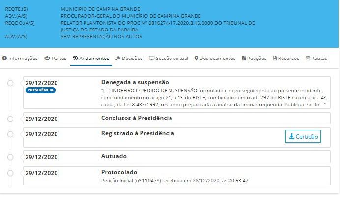 campina grande decisao - Fux rejeita ação da Prefeitura de Campina Grande e mantém bares fechados no Réveillon; LEIA DECISÃO