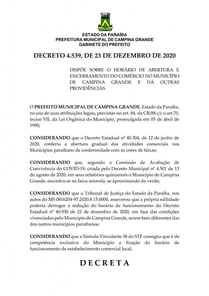decreto pagina 1 - CAMPINA GRANDE: decreto libera bares e restaurantes em horário normal durante fim de ano